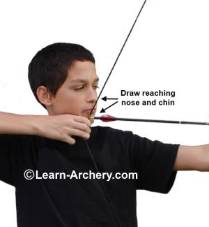 Draw reaching nose and chin
