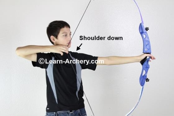 Bow-arm shoulder is down
