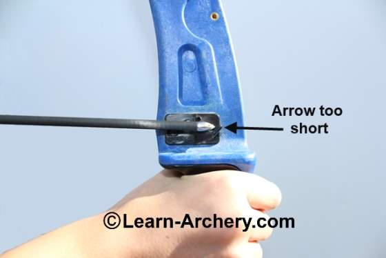 Archery arrow too short