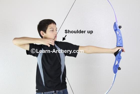 Bow-arm shoulder raised up